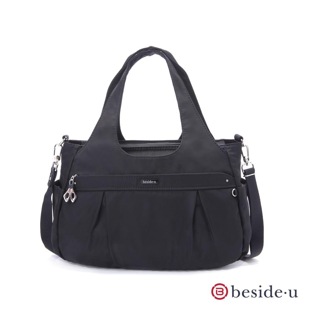 beside u 官方直營 BCS 圓弧形多夾層手提包側背包兩用包- 黑色