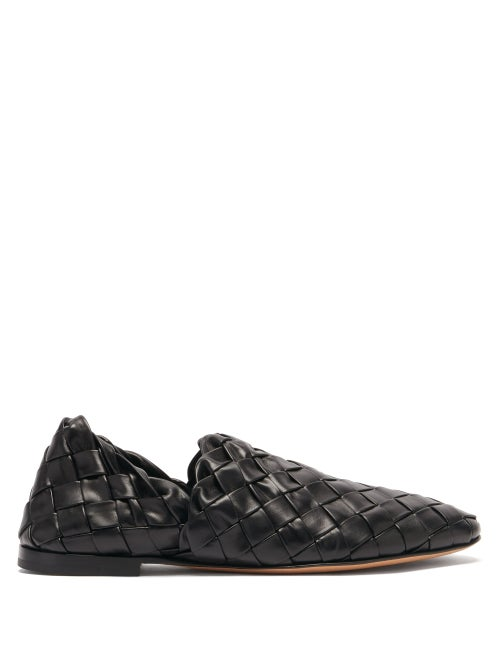 Bottega Veneta - The Slipper Intrecciato Leather Flats - Womens - Black