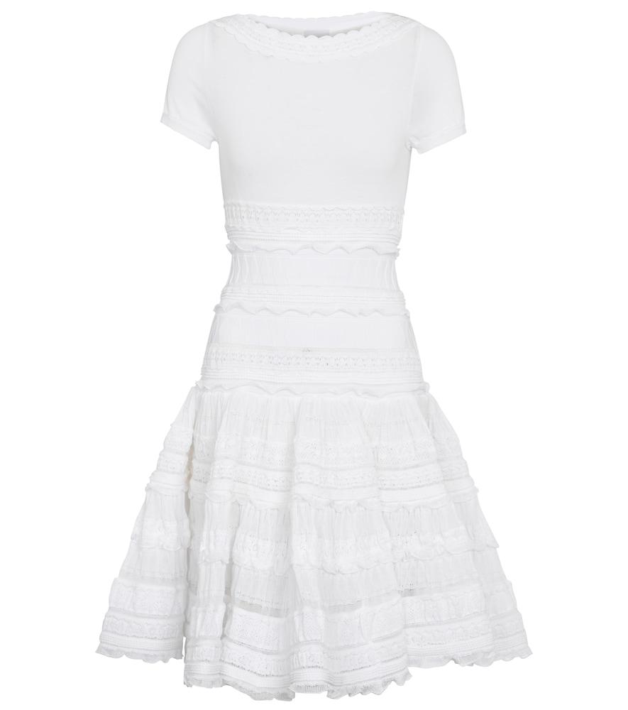 Ruffle-trimmed cotton-blend minidress