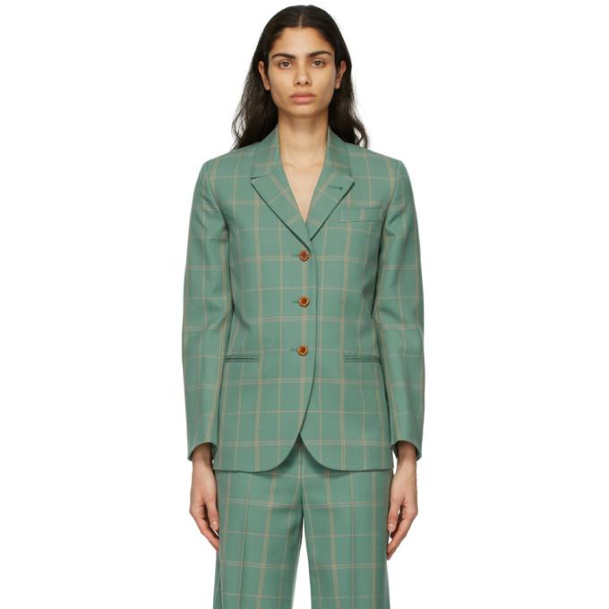 Gucci 绿色格纹西装外套