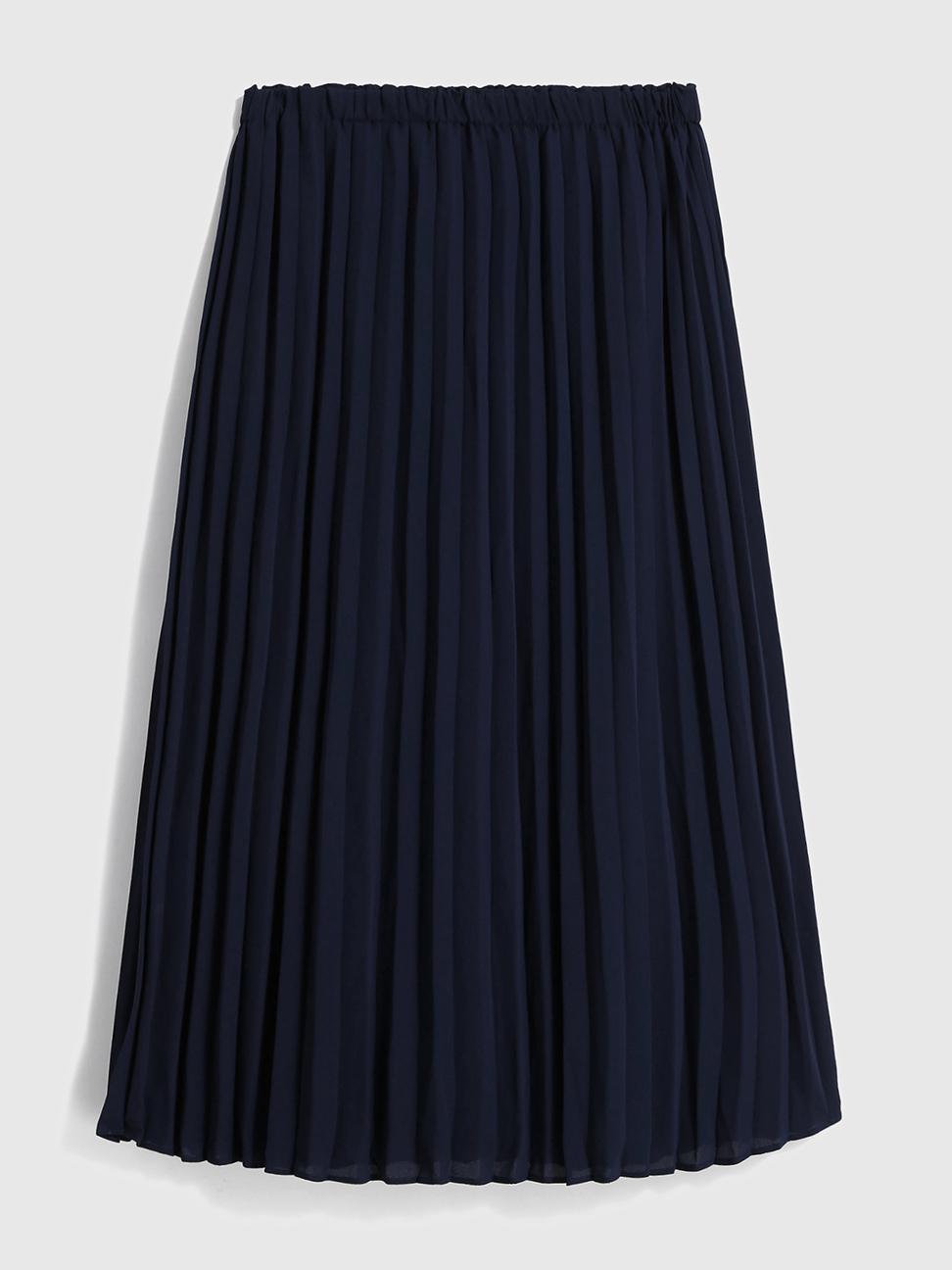 女裝 清爽風格鬆緊梭織百褶裙