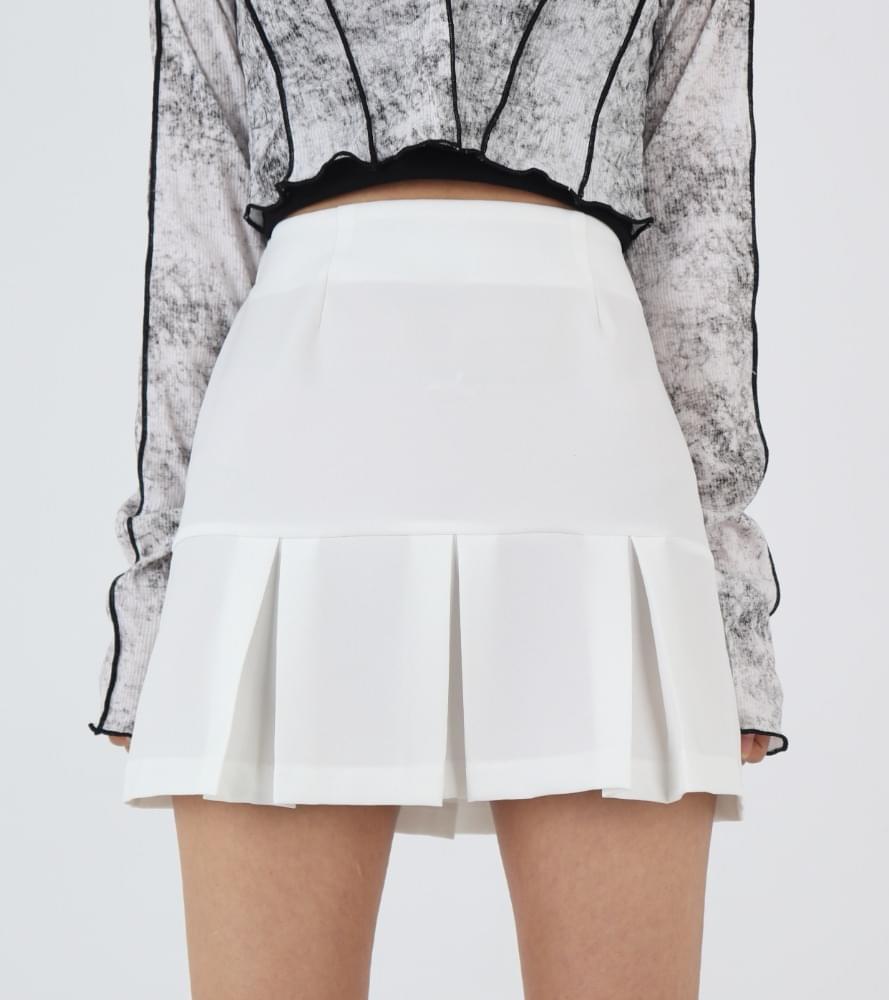 韓國空運 - Spring half pleated mini skirt 裙子
