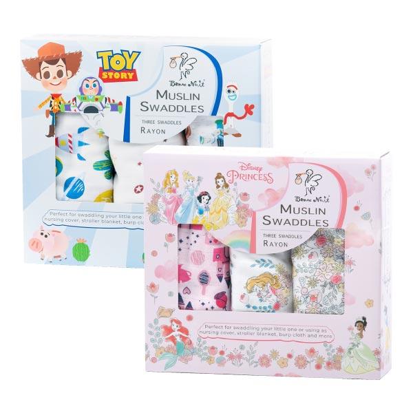 Bonne Nuit 迪士尼竹纖維包巾3入(2款可選)附提袋 禮盒 彌月禮