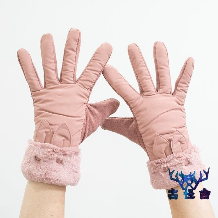 手套秋冬季加厚加絨女士雙層防風騎車手套
