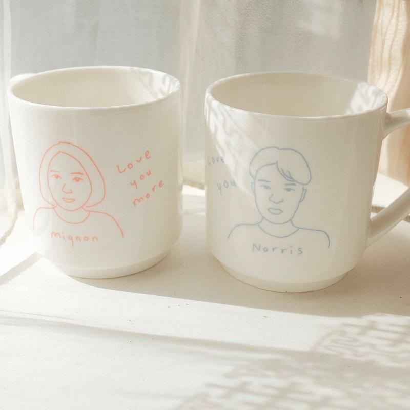 【安心出貨】【客製化】手繪插畫人像 對杯組 (一組2入)