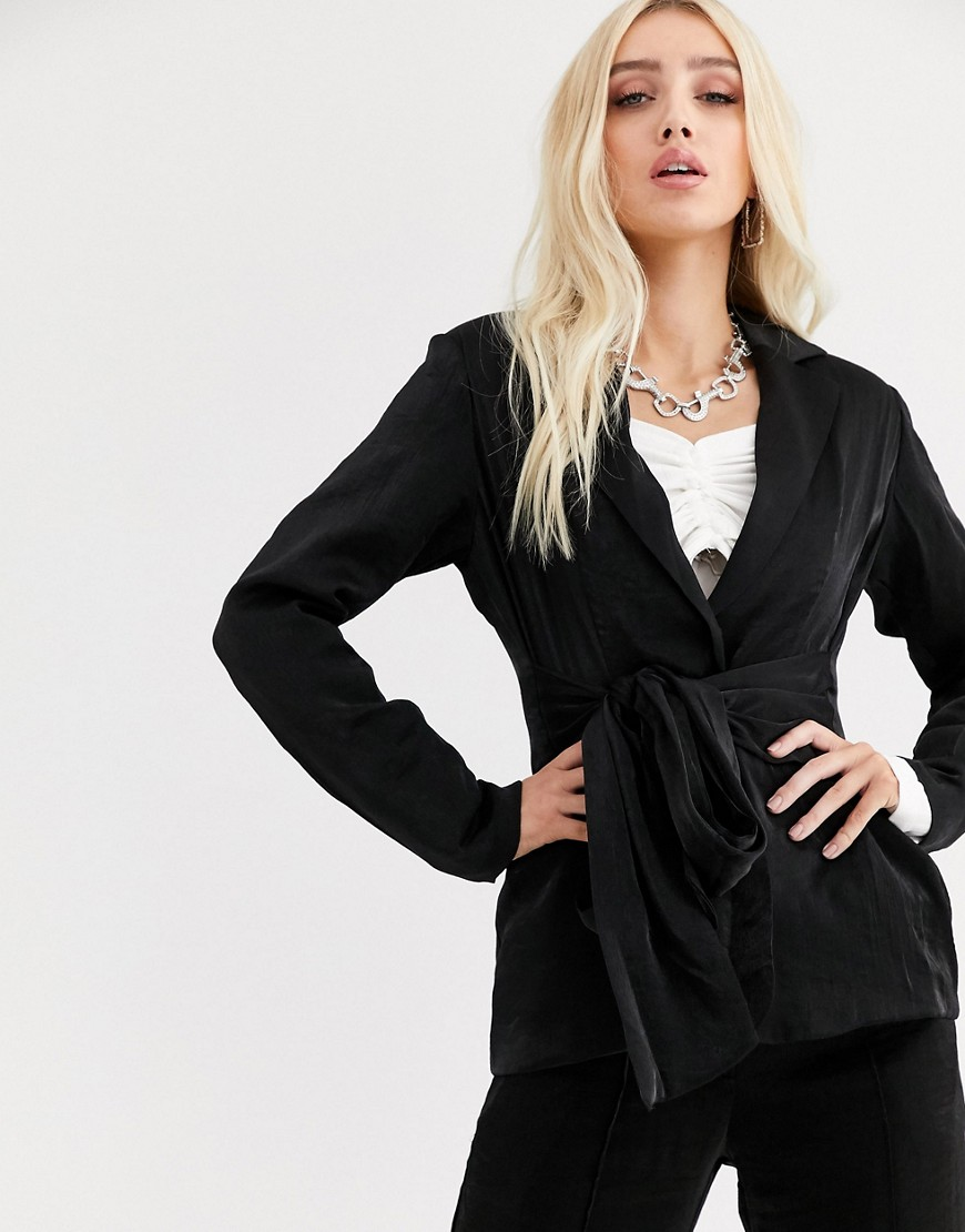 UNIQUE21 relaxed blazer with tie waist in shimmer co-ord-Black