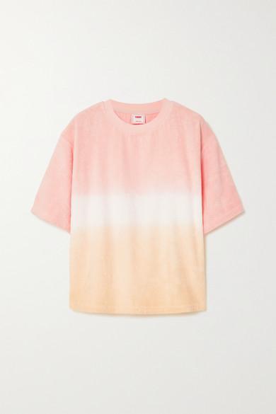 TERRY - Terry Tie 渐变色纯棉毛巾布 T 恤 - 粉红色 - small