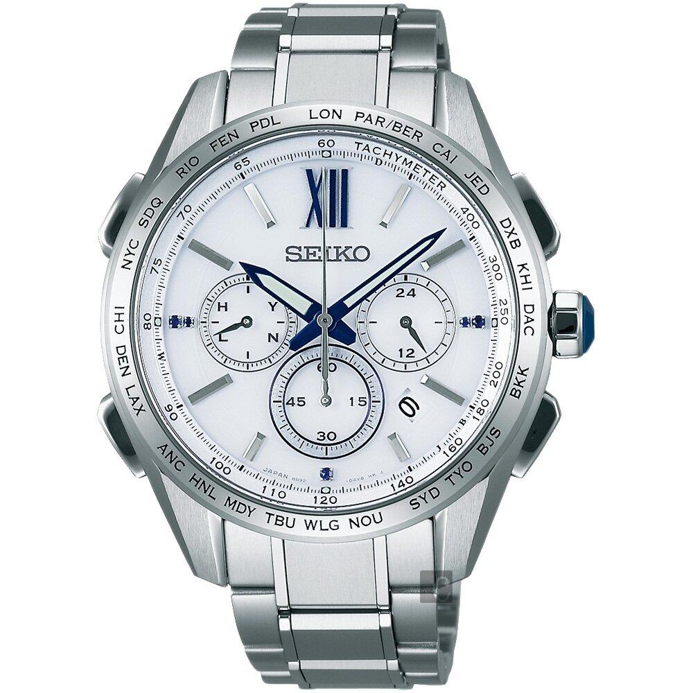 SEIKO 精工 Brightz 耶誕限量鈦計時太陽能電波腕錶(SAGA223J) 8B92-0AT0S