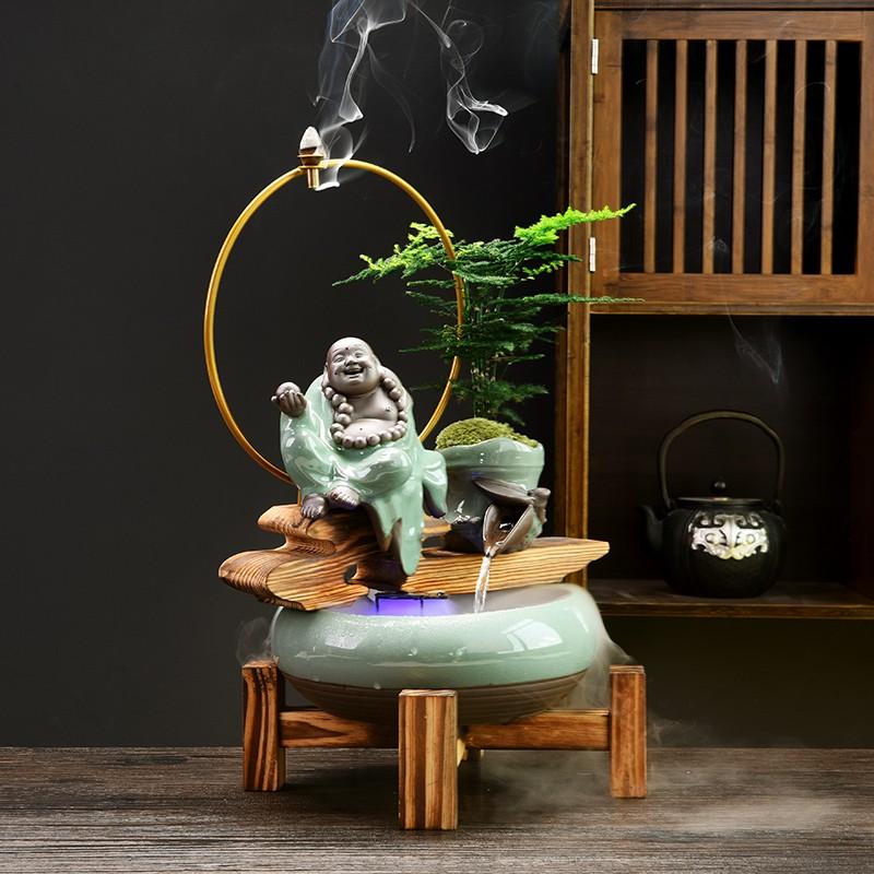 花瓶 陶瓷花瓶 花盆 擺件 免運創意中式流水噴泉擺件客廳裝飾品風水招財辦公室彌勒佛魚缸加濕器