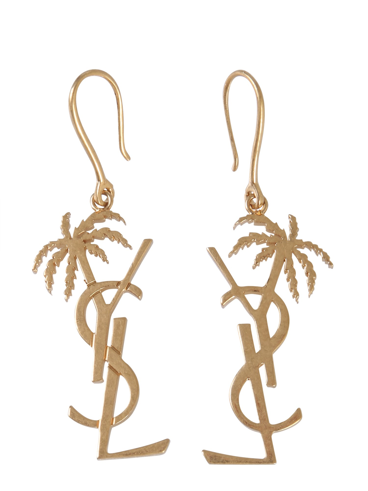 saint laurent palmier monogram earrings