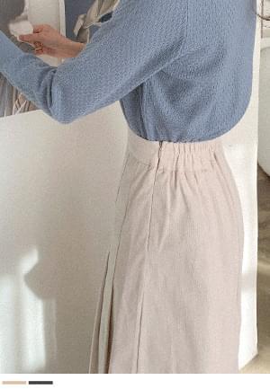 韓國空運 - Elegant charm corduroy pleated long skirt 裙子