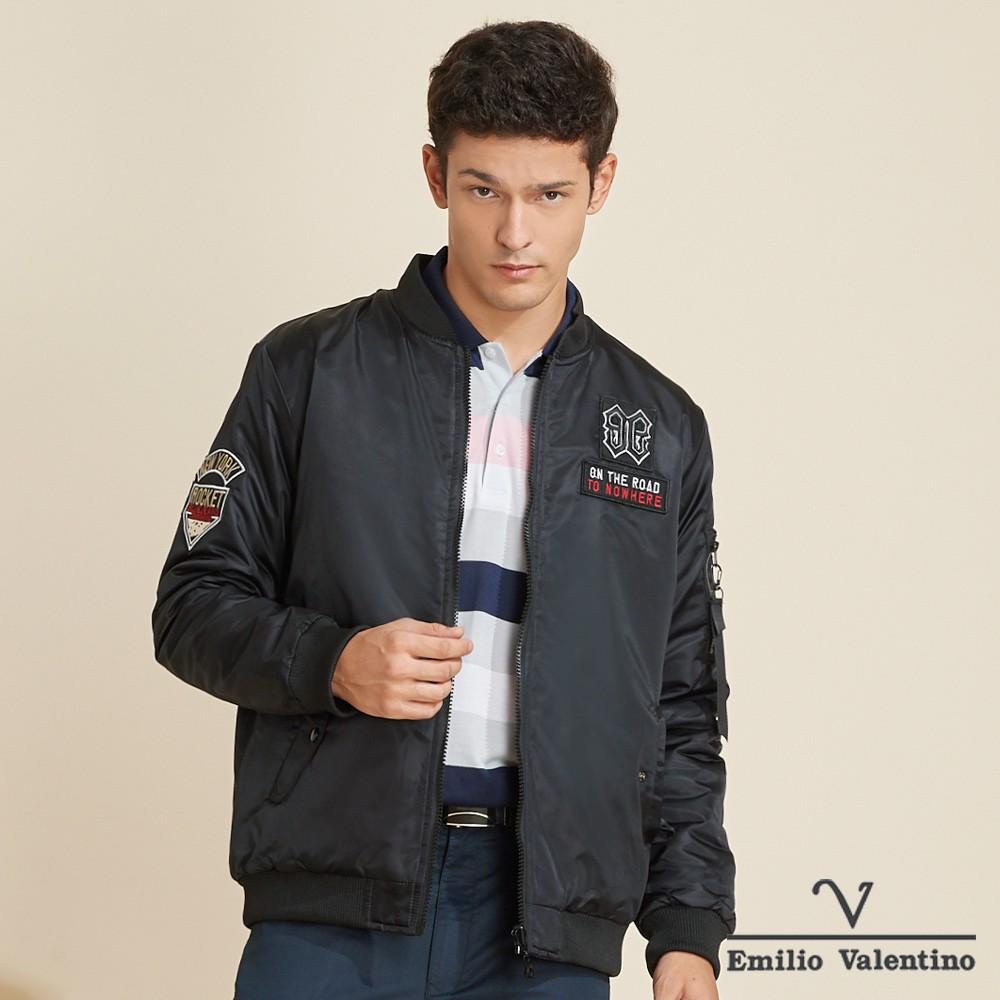 Emilio Valentino 范倫鐵諾帥氣時尚立領鋪棉禦寒飛行外套_黑(15-K3950)