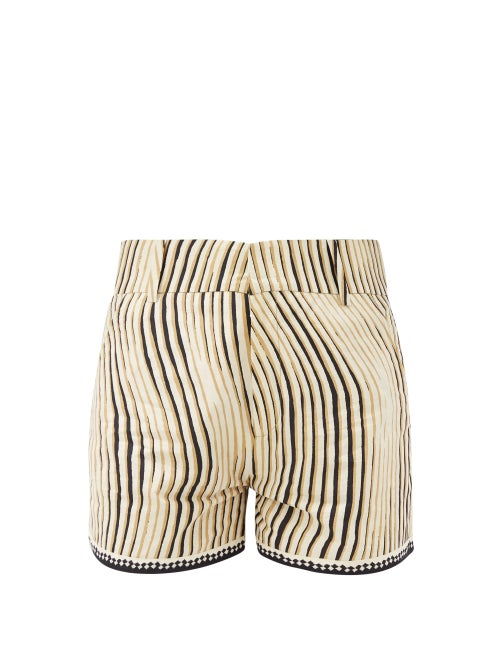 Le Sirenuse, Positano - High-rise Wind-print Cotton Shorts - Womens - Black Print