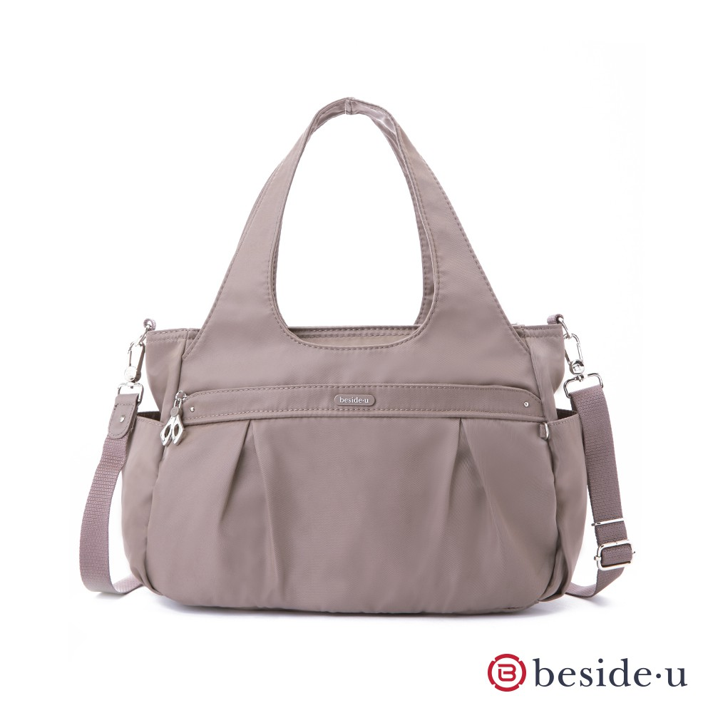 beside u 官方直營 BCS 圓弧形多夾層手提包側背包兩用包- 奶茶色 淺可可色