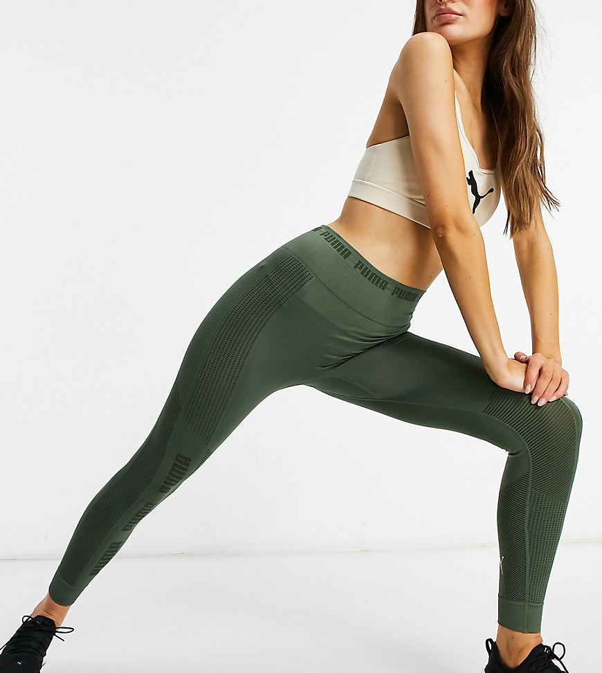 Puma Training seamless leggings in thyme exclusive to ASOS-Green