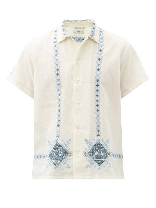 Bode - Twin Bird Mosaic Linen-blend Shirt - Mens - Blue White