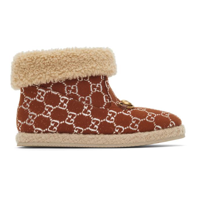 Gucci 棕色 Lame GG 踝靴