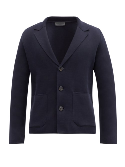 Iris Von Arnim - Jonah Notch-lapel Cotton Cardigan - Mens - Navy