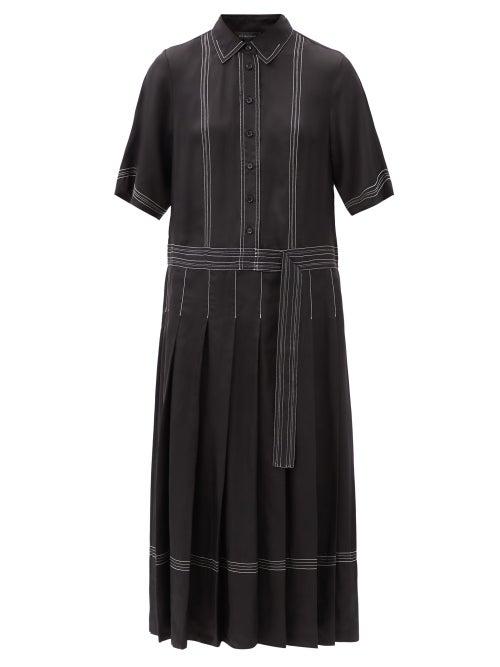 Lee Mathews - Adelaide Topstitched Pleated Twill Shirt Dress - Womens - Black