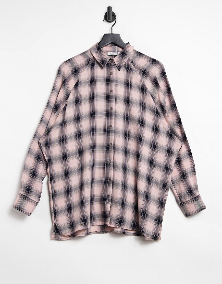 ASOS DESIGN WFH long sleeve boyfriend shirt in pink and black check-Multi