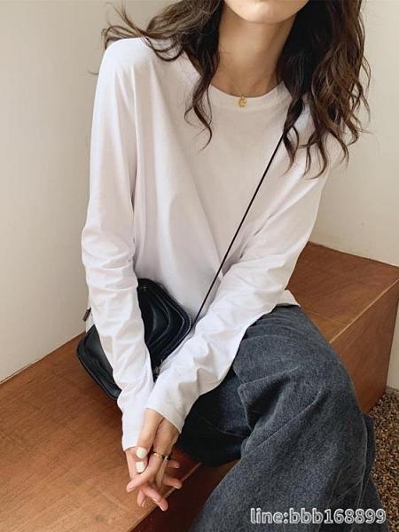 長袖T恤 白色長袖T恤女寬鬆顯瘦圓領韓版純棉打底衫秋冬純色內搭上衣 瑪麗蘇
