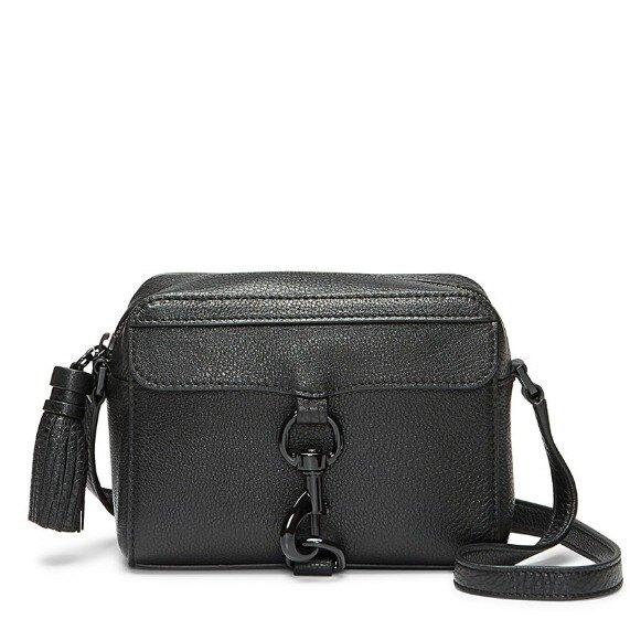 REBECCA MINKOFF 相機包 斜背包 盒子包 荔枝紋真皮 流蘇吊飾 側背包 R25703 黑色RM(現貨)