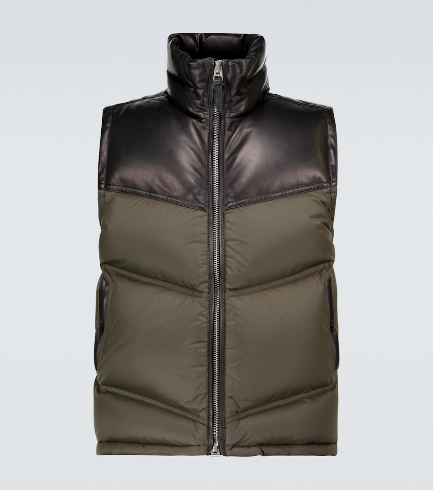 Nylon and leather down-filled gilet