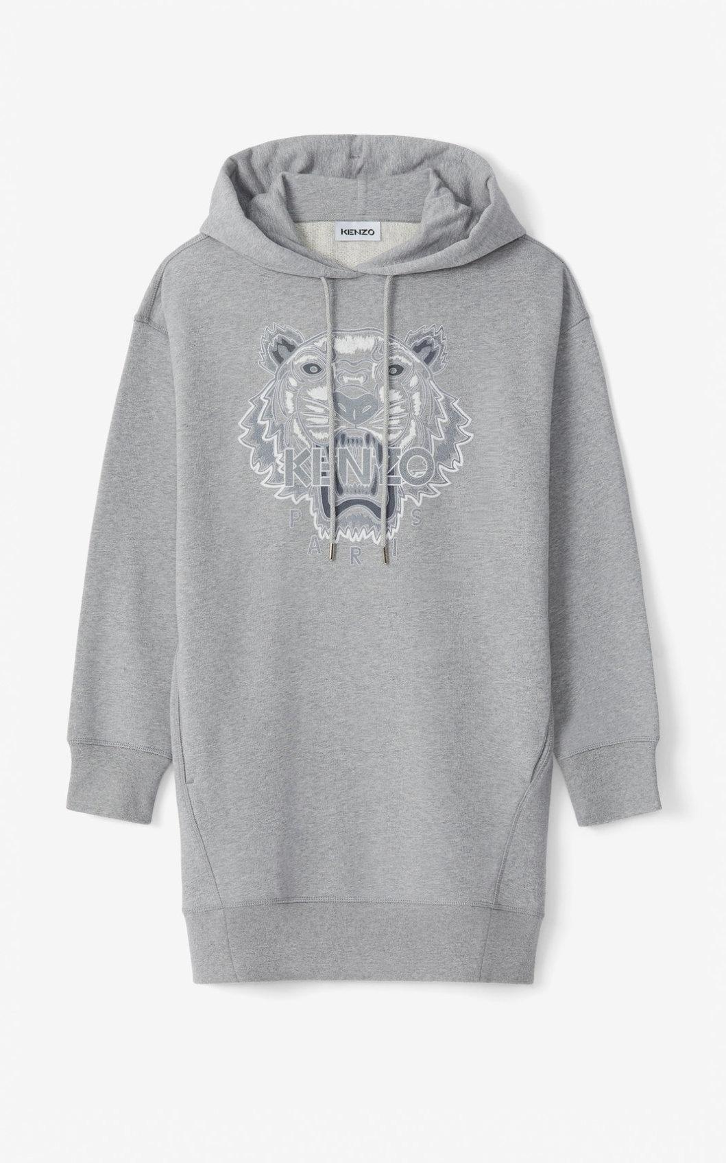 KENZO Robe sweatshirt à capuche Tiger Flock