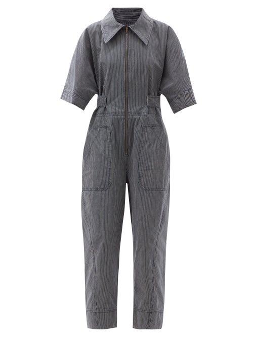 Ssone - Ritual Striped Organic-cotton Jumpsuit - Womens - Denim