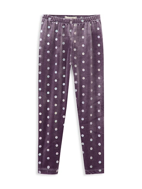 Little Girl's & Girl's Sofia Foiled Dots Leggings