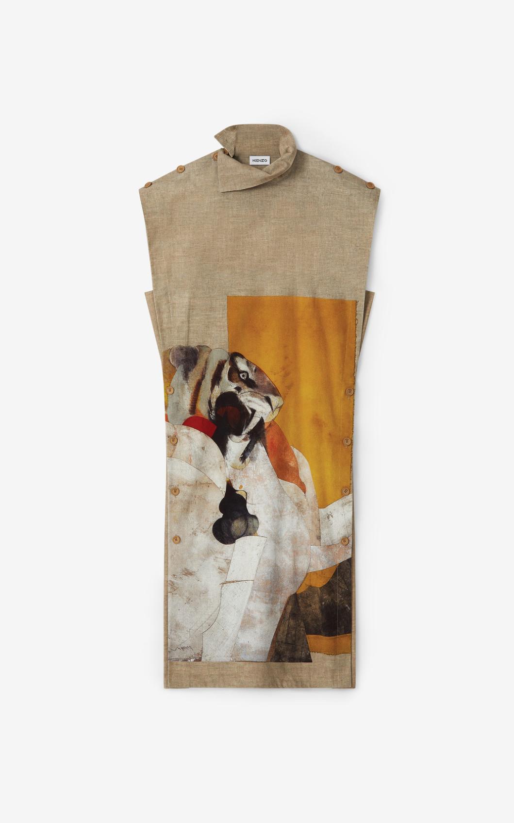 KENZO Robe longue avec illustration de Jùlio Pomar