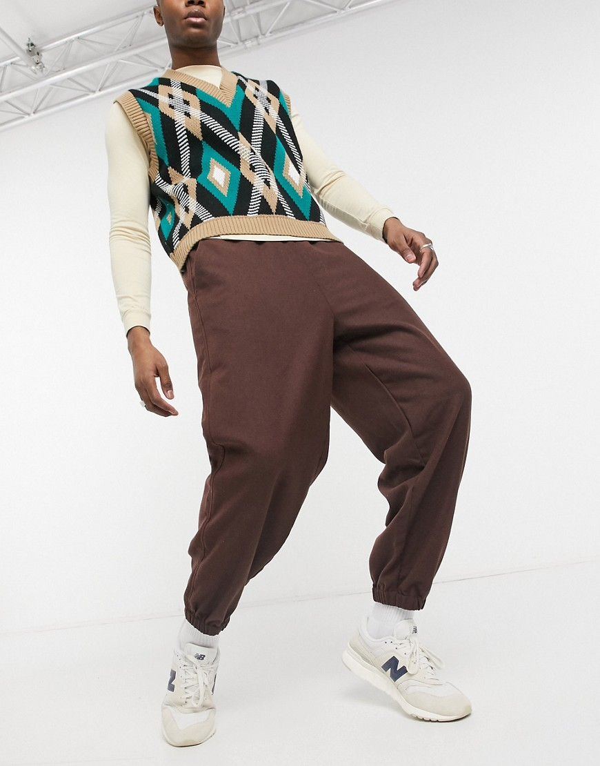 ASOS DESIGN oversized tapered jogger in tobacco-Neutral