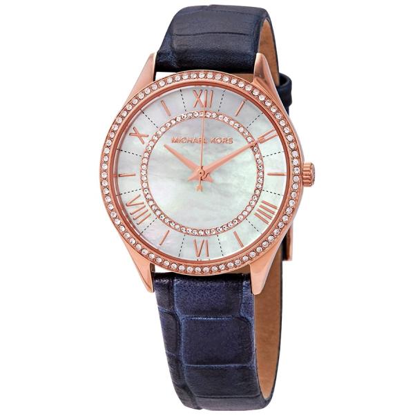 MICHAEL KORS 女錶 手錶 MK2757 深藍色真皮錶帶 女錶 手錶 腕錶 鑽錶 深藍色MK(現貨)
