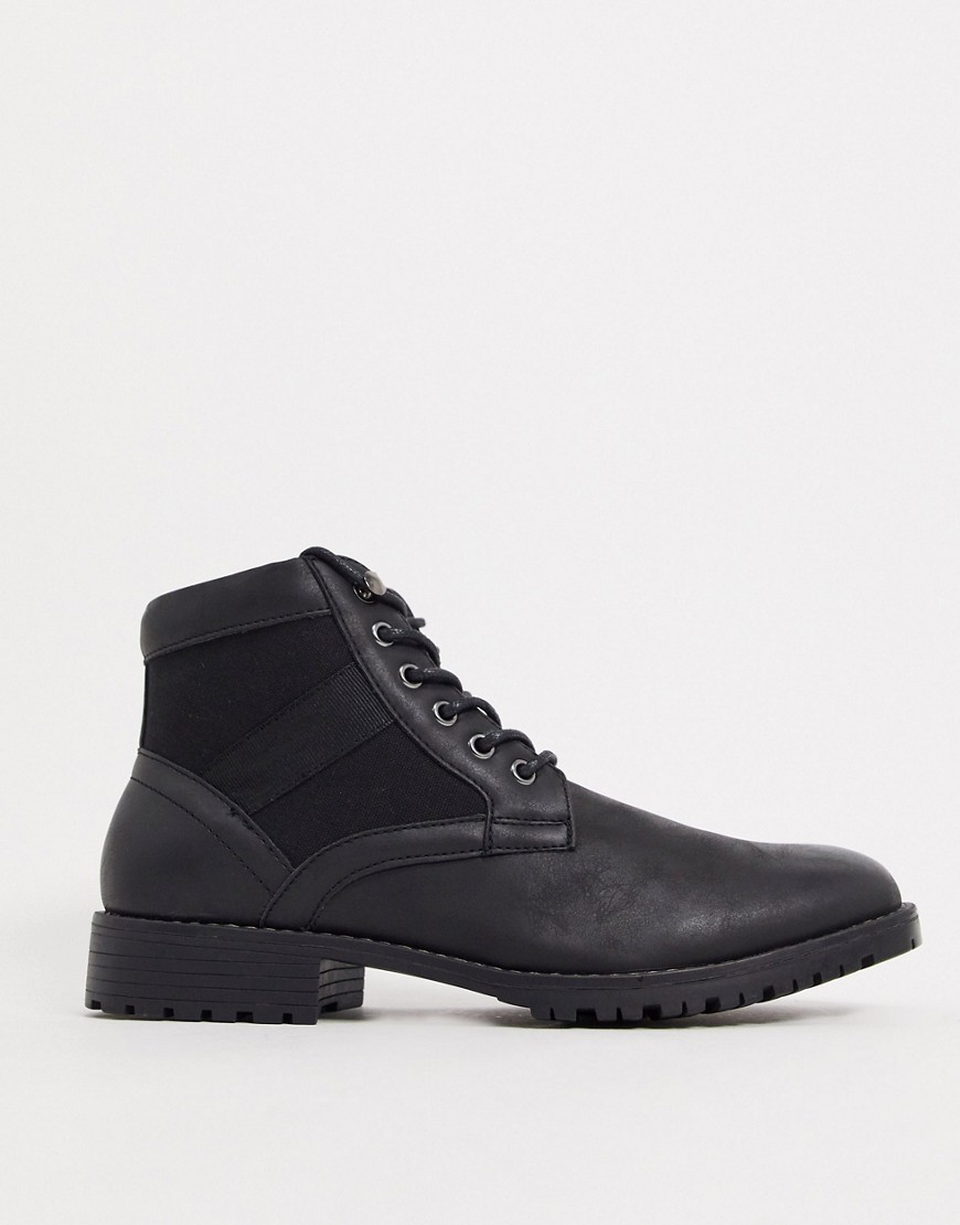 ASOS DESIGN Vegan lace up boot in black faux leather