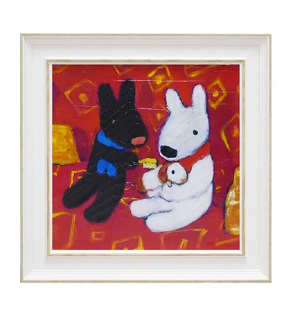 《麗莎和卡斯柏》中型含框複製畫-與寵物鼠