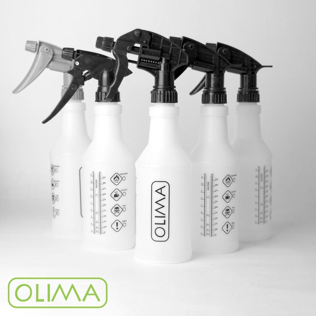 【愛BUY佳】OLIMA HDPE材質印刷圓瓶 4角半透&全黑噴瓶500ML+各式噴頭 最適合裝酒精漂白水消毒