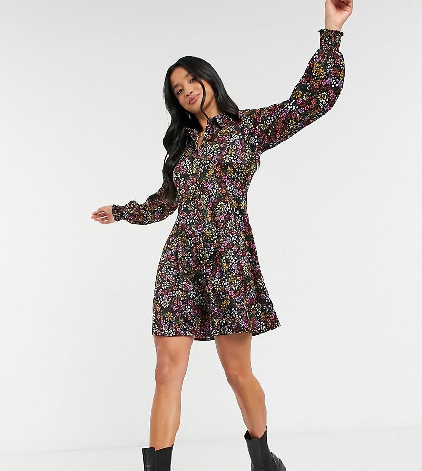 Vero Moda Petite mini shirt dress in black floral-Multi