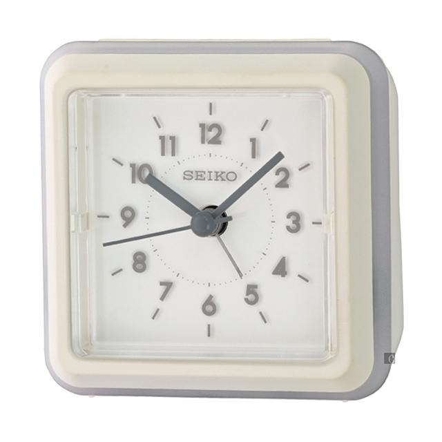 SEIKO 精工 簡約風七彩夜光滑動式秒針鬧鐘-白 QHE182W