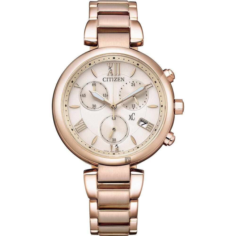 CITIZEN 星辰 xC 情人節推薦款 光動能計時女錶-35mm FB1452-58W