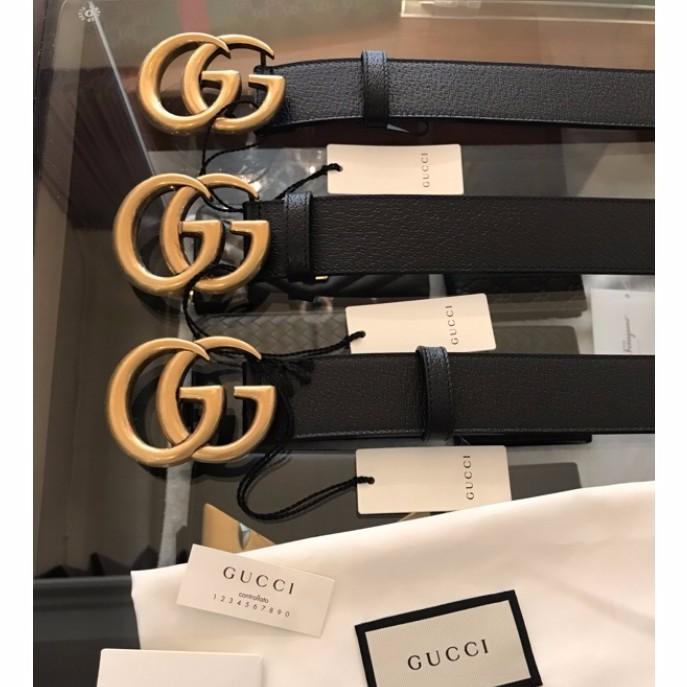 全新真品 現貨Gucci皮帶 復古雙G 古銅色 經典金頭 大Logo 3公分 男女款 情侶款 韓版腰帶 代購
