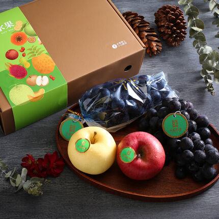 【永齡選物】 吉品富貴鮮果禮盒 (巨峰葡萄 500g *2+ 金星蘋果*1 +蜜富士蘋果*1 )