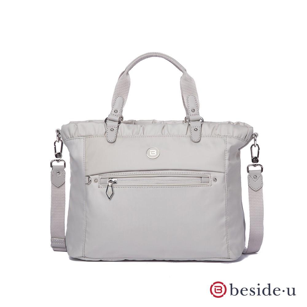 beside u BPU 簡約質感多格層方形斜肩包側背包手提包兩用包 – 米灰色 官方直營