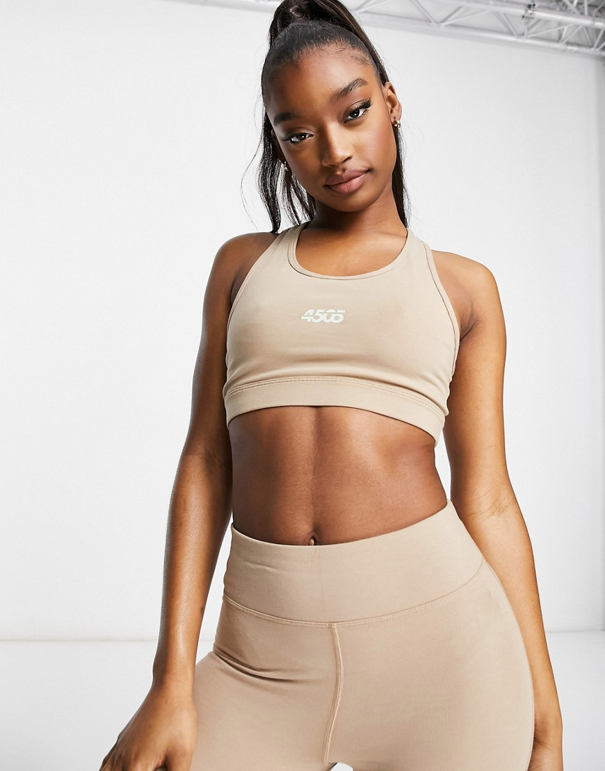 ASOS 4505 icon scoop neck sports bra in cotton touch-Pink