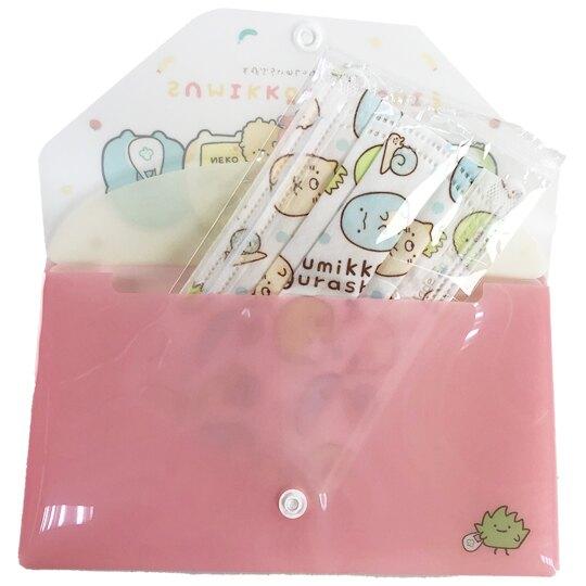 小禮堂 角落生物 塑膠扣式口罩夾 附口罩 口罩套 口罩包 口罩收納 (粉 購物)