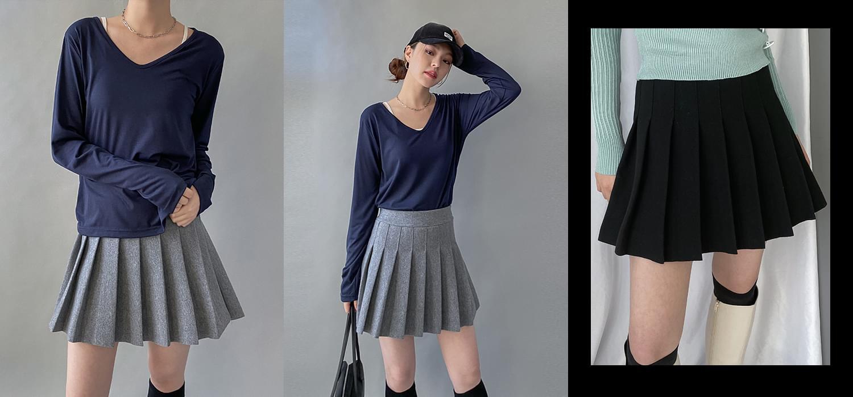 韓國空運 - Wool pleated banding mini skirt 裙子