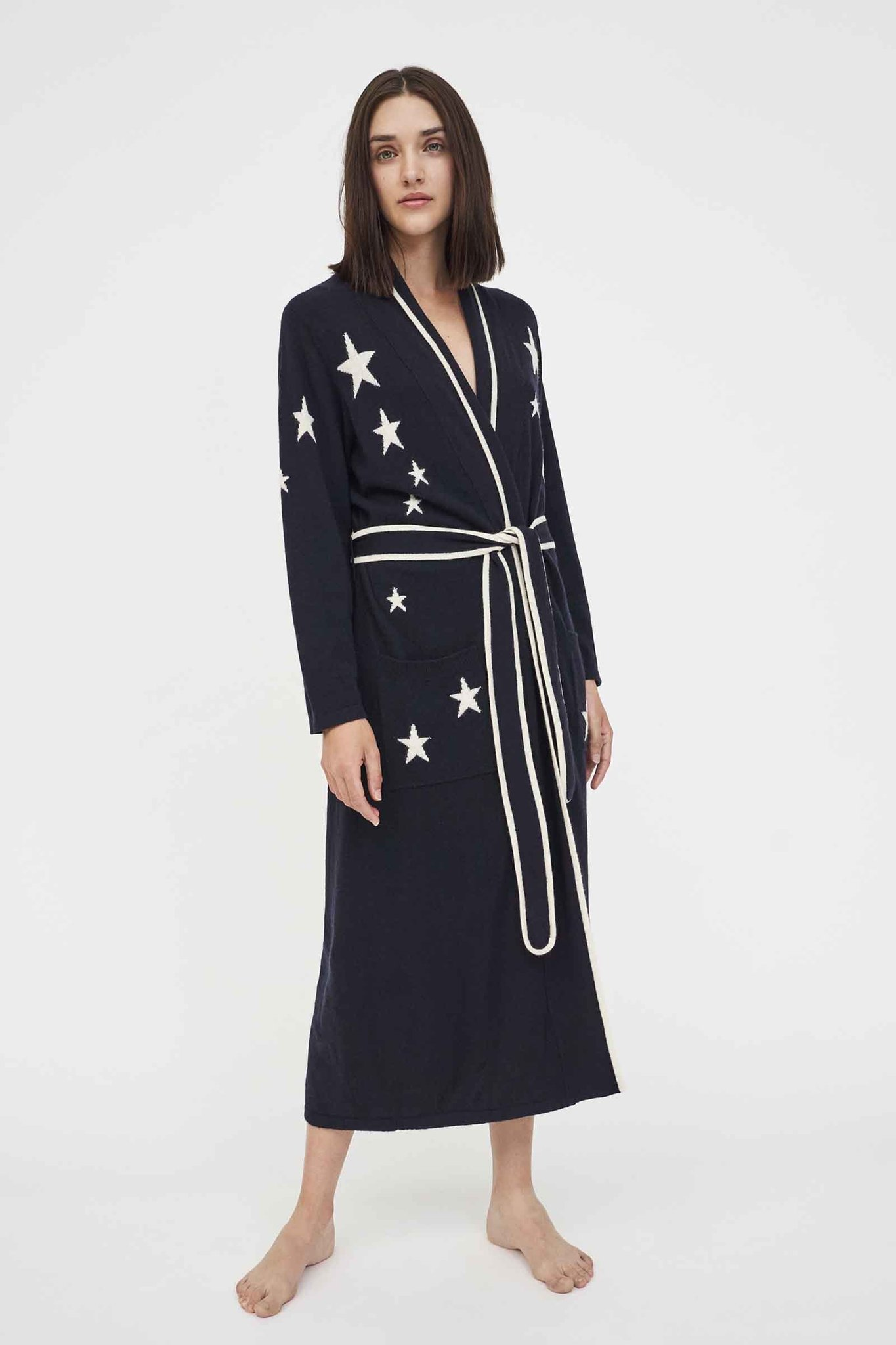 Navy Cashmere Star Dressing Gown