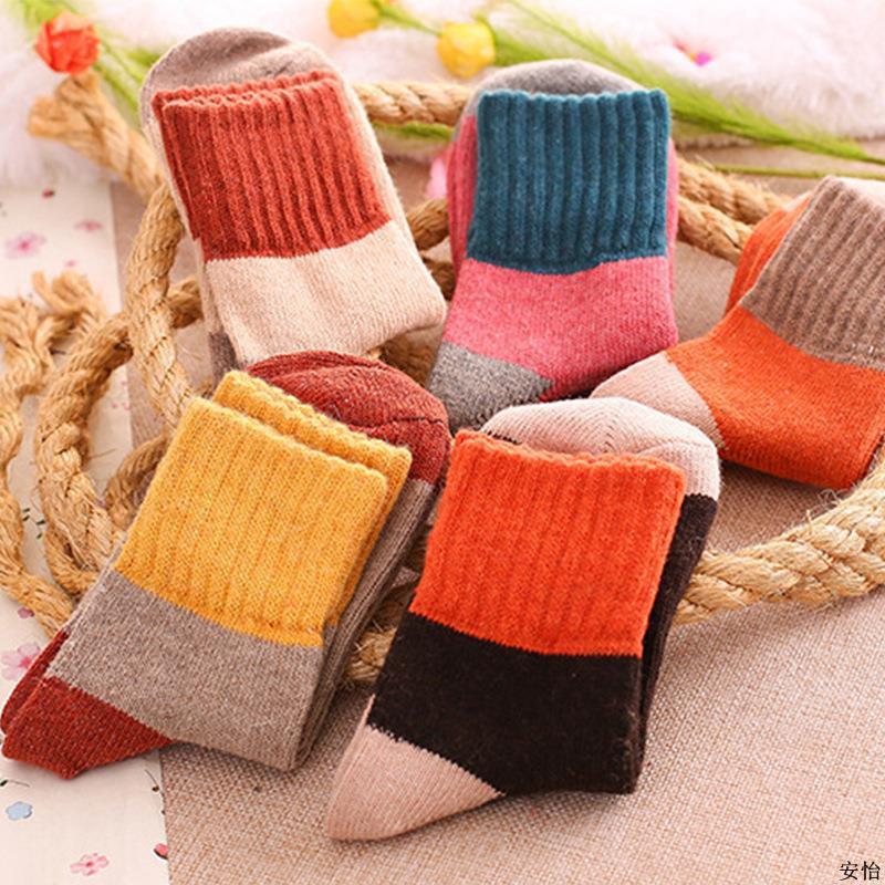 全網最低5雙裝女士兔羊毛襪冬季厚款中筒襪韓版毛圈襪加厚保暖襪女襪子