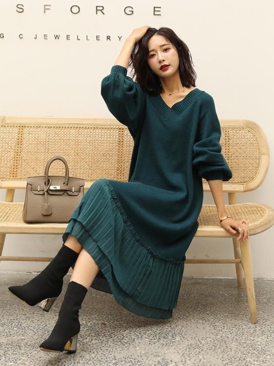 秋冬季毛衣裙女韓版雪紡拼接寬鬆大碼針織衫洋裝中長款過膝套頭