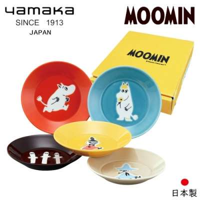 日本山加yamaka moomin嚕嚕米彩繪陶瓷淺盤禮盒5入組 (MM1300-57)