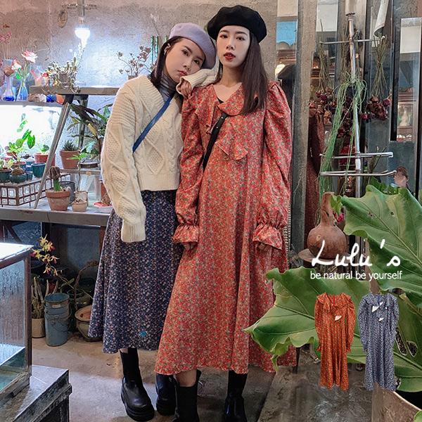 LULUS【A02200147】Y荷葉邊碎花洋裝2色